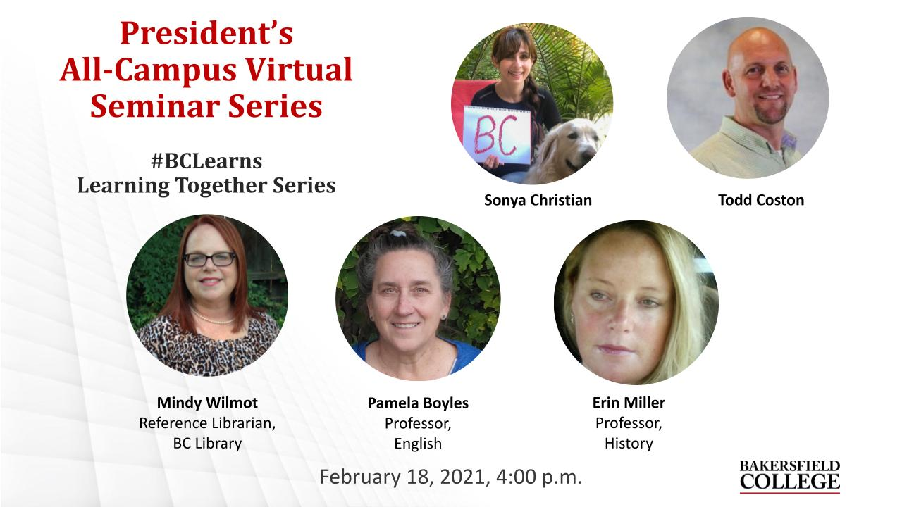 February 18, 2021 Learning Together Virtual Forum title slide showing Sonya Christian, Todd Coston, Mindy Wilmot, Pamela Boyles, and Erin Miller