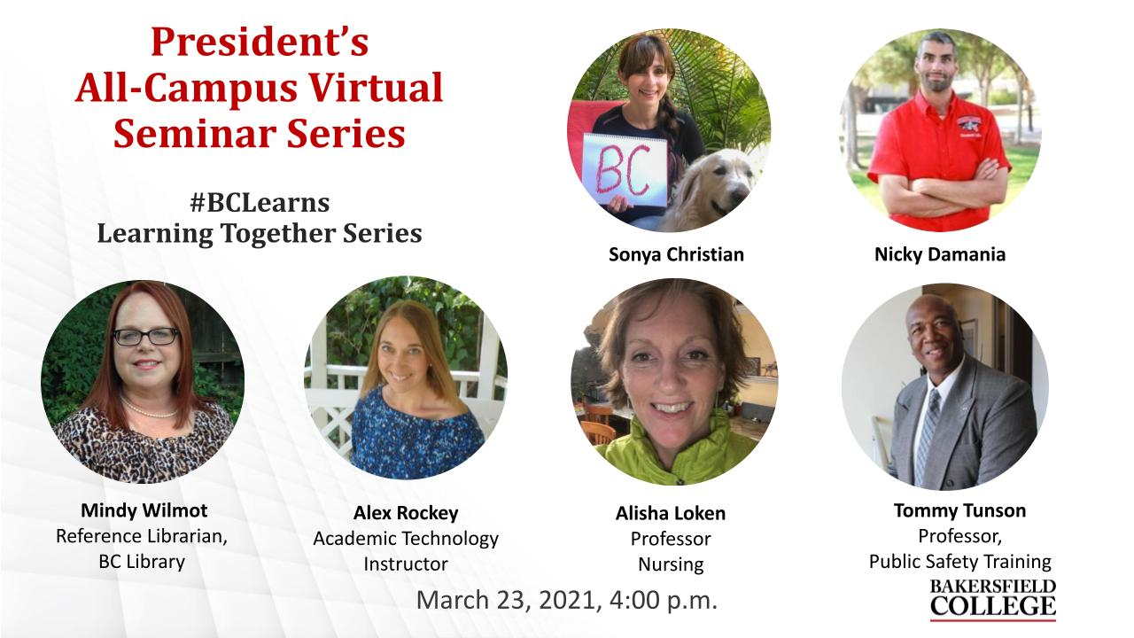 March 23, 2021, Learning Together Virtual Forum showing Sonya Christian, Nicky Damania, Mindy Wilmot, Alex Rockey, Alisha Loken, and Tommy Tunson