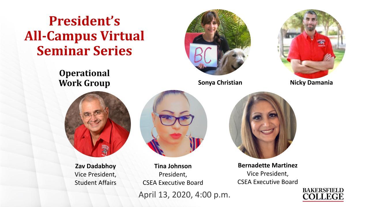 April 13, 2021 Virtual Forum Title Slide from Operational Work Group featuring Sonya Christian, Nicky Damania, Zav Dadabhoy, Tina Johnson, and Bernadette Martinez