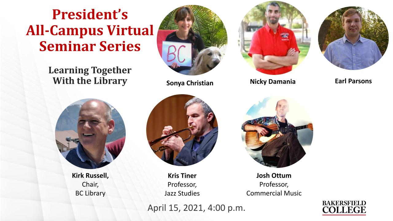 April 15, 2021 Learning Together Virtual Forum title slide showing Sonya Christian, Nicky Damania, Earl Parsons, Kirk Russell, Kris Tiner, and Josh Ottum