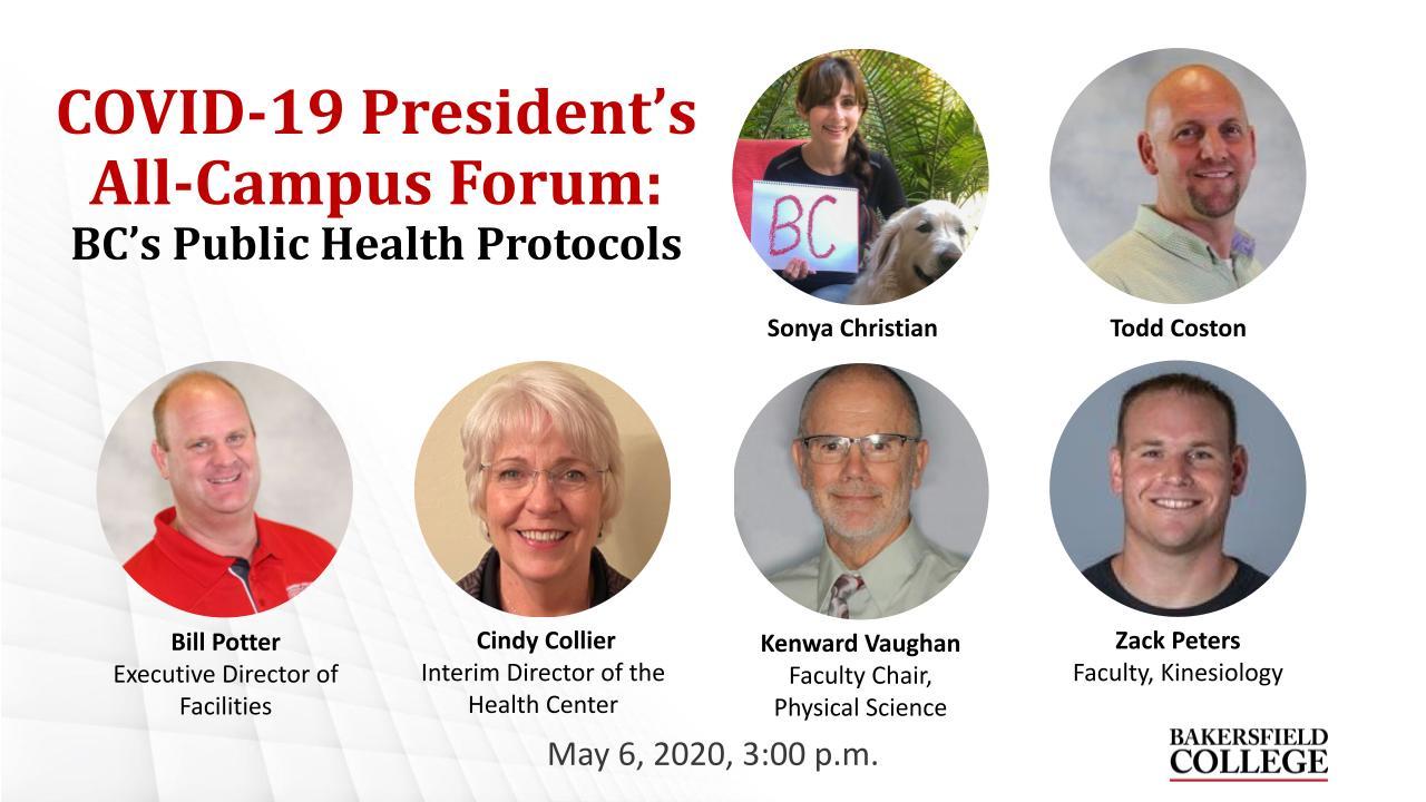 May 6, 2020 Public Health Protocols Virtual Seminar Title Slide showing Sonya Christian, Todd Coston, Bill Potter, Cindy Collier, Kenward Vaugahn, and Zack Peters