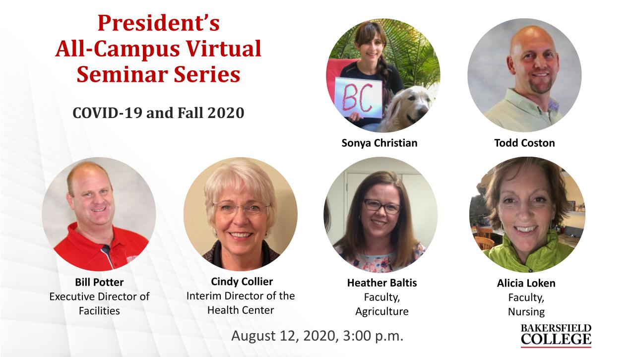 Title slide showing seminar speakers Sonya Christian, Todd Coston, Bill Potter, Cindy Collier, Heather Baltis, and Alisha Loken for the August 12, 2020 seminar about COVID-19 and Fall 2020
