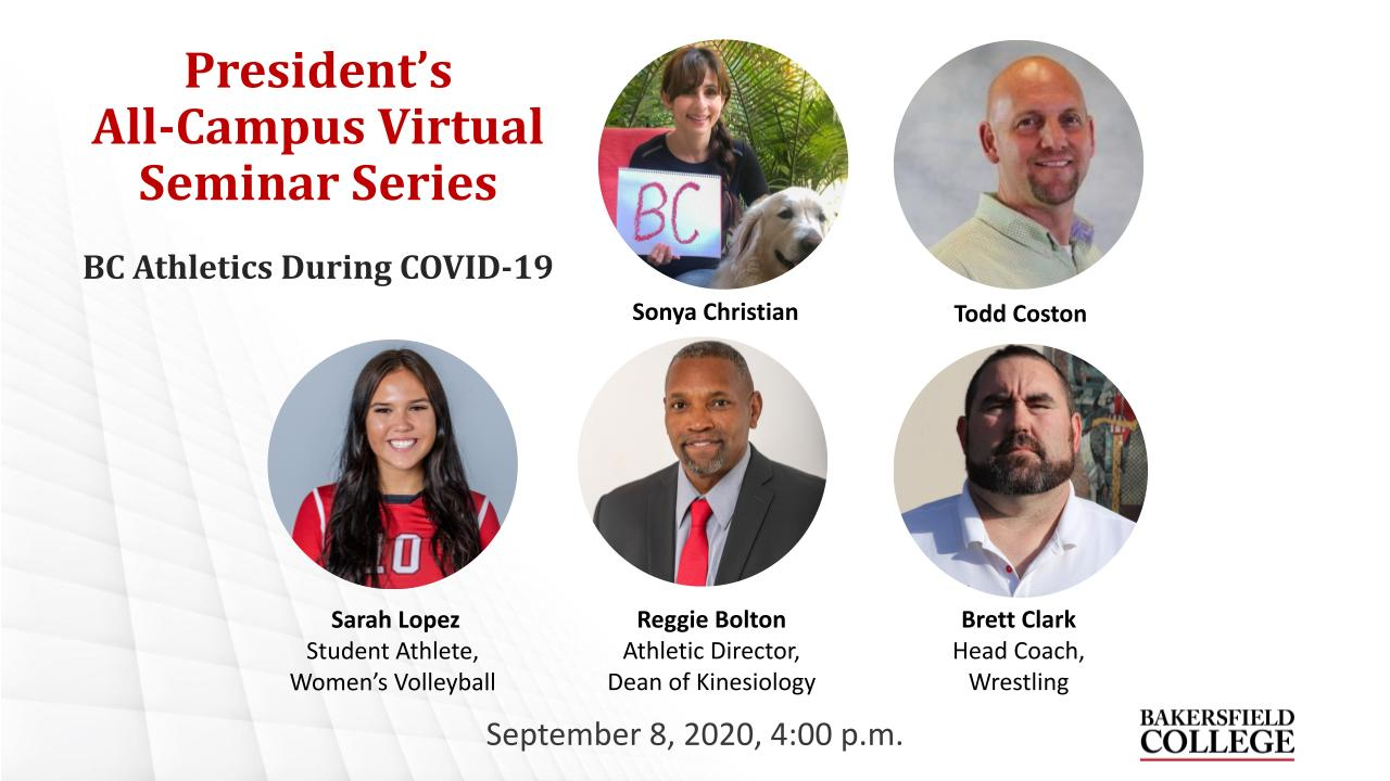 September 8, 2020, Virtual Forum about BC Athletics during COVID-19 title slide showing speakers Sonya Christian, Todd Coston, Sarah Lopez, Reggie Bolton, and Brett Clark