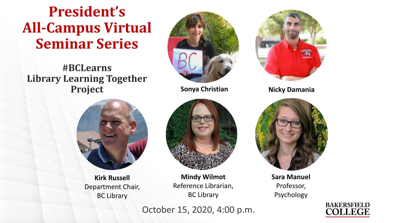 October 15, 2020 Virtual Forum Learning Together Title Slide showing Sonya Christian, Nicky Damania, Kirk Russell, Mindy Wilmot, and Sara Manuel