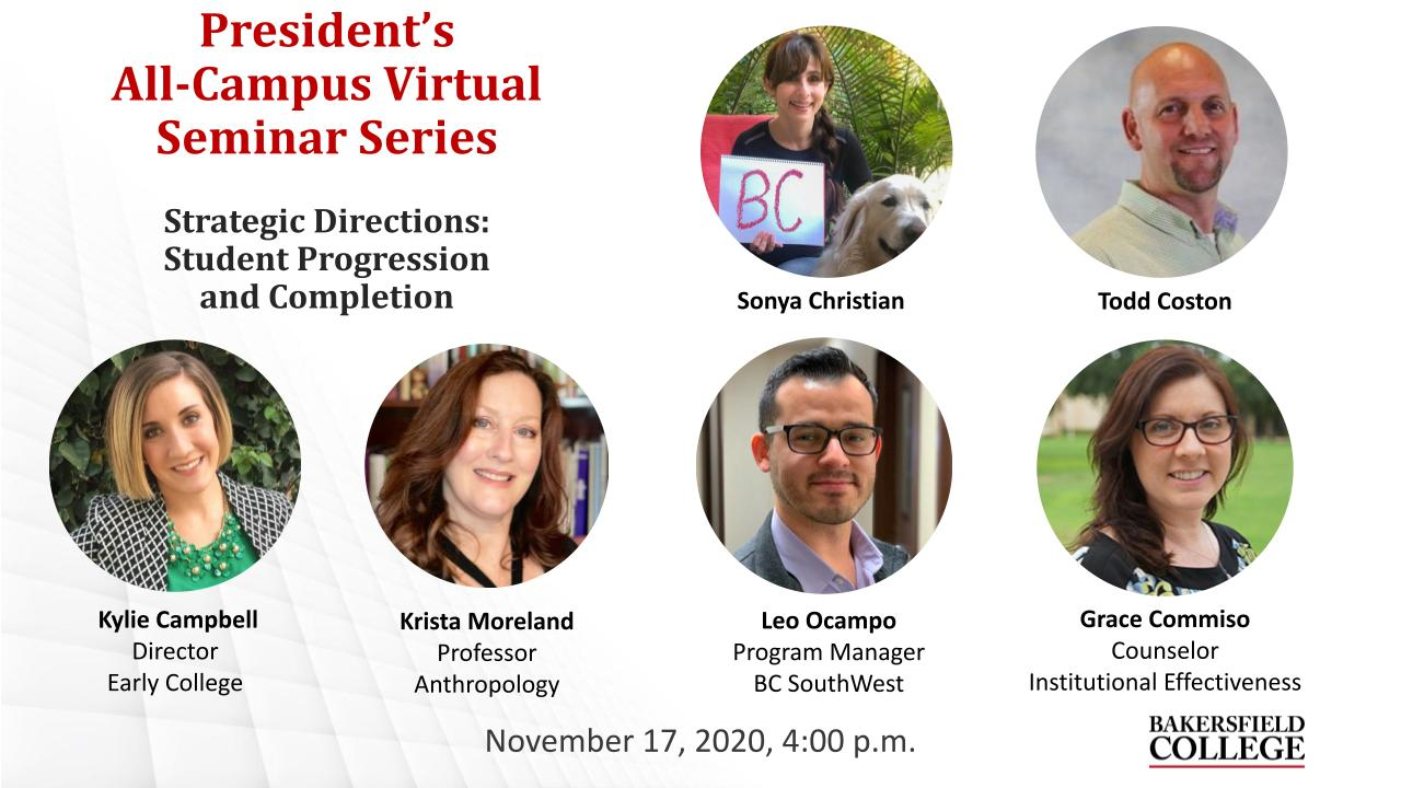 November 17, 2020 Strategic Directions Virtual Forum Title Slide showing Sonya Christian, Todd Coston, Kylie Campbell, Krista Moreland, Leo Ocampo, and Grace Commiso