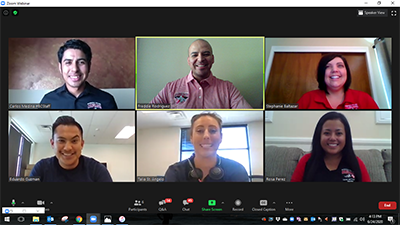 Zoom screen with 2 Amazon recruiters and 4 members of the Student Employment Team.
