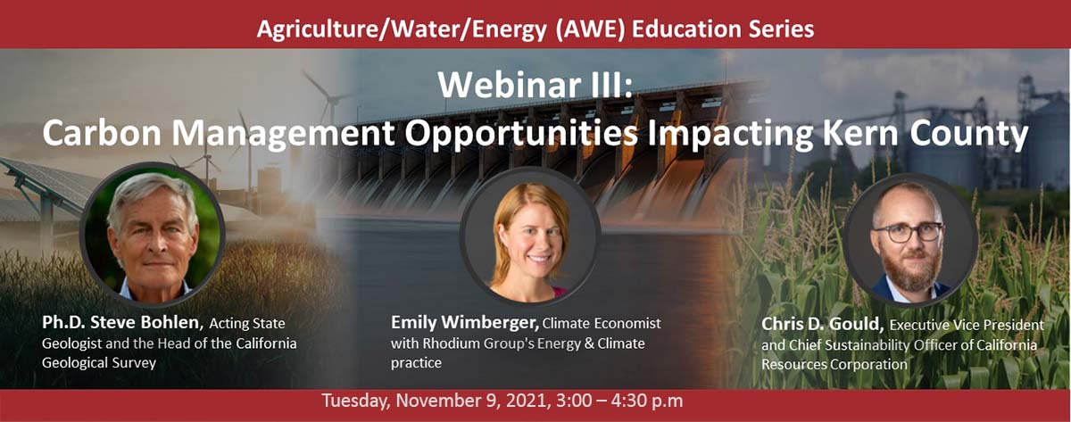 Energy sources in background with three guest speakers, 2 men, 1 woman.