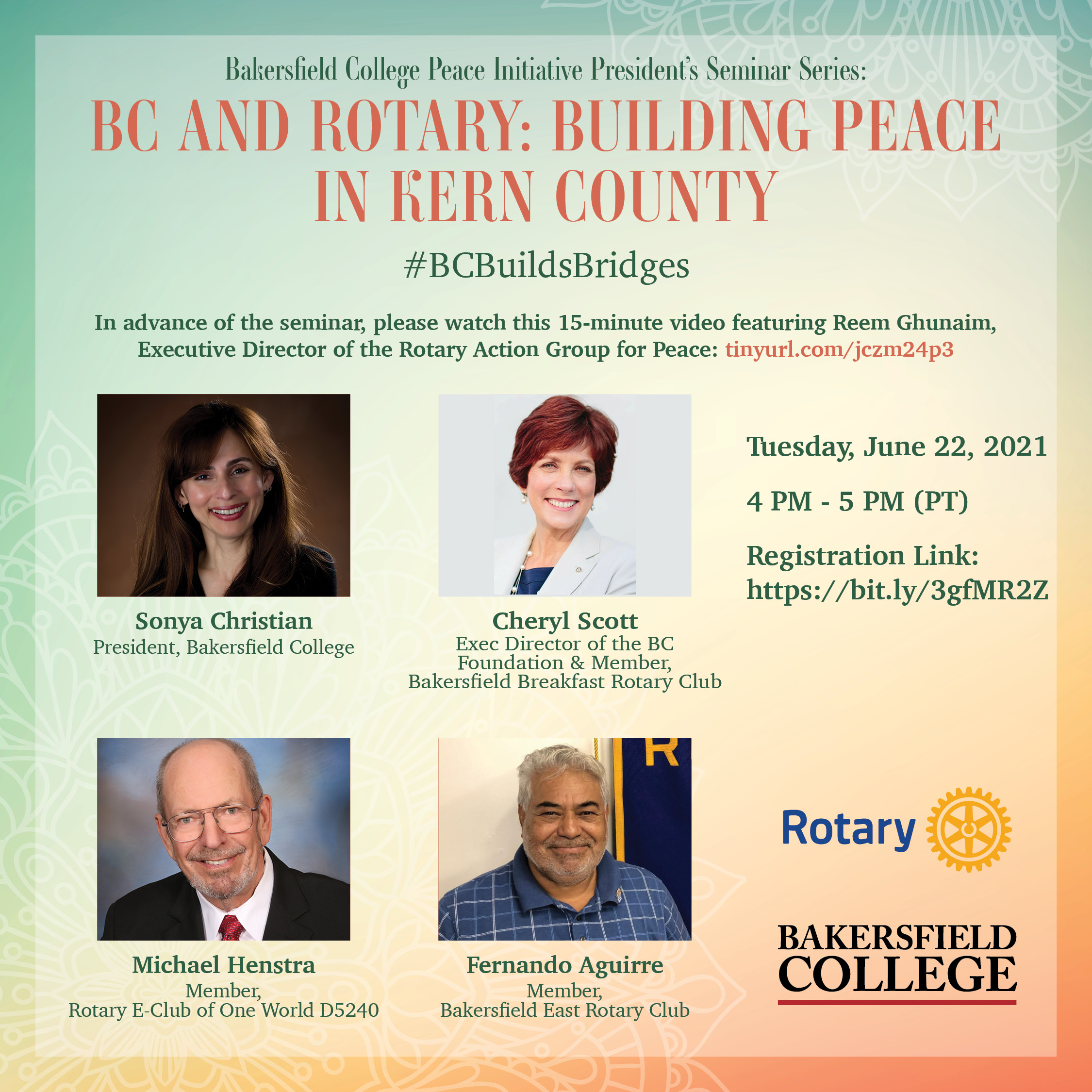 flyer for BC and Rotary : Building Peace in Kern County panel
