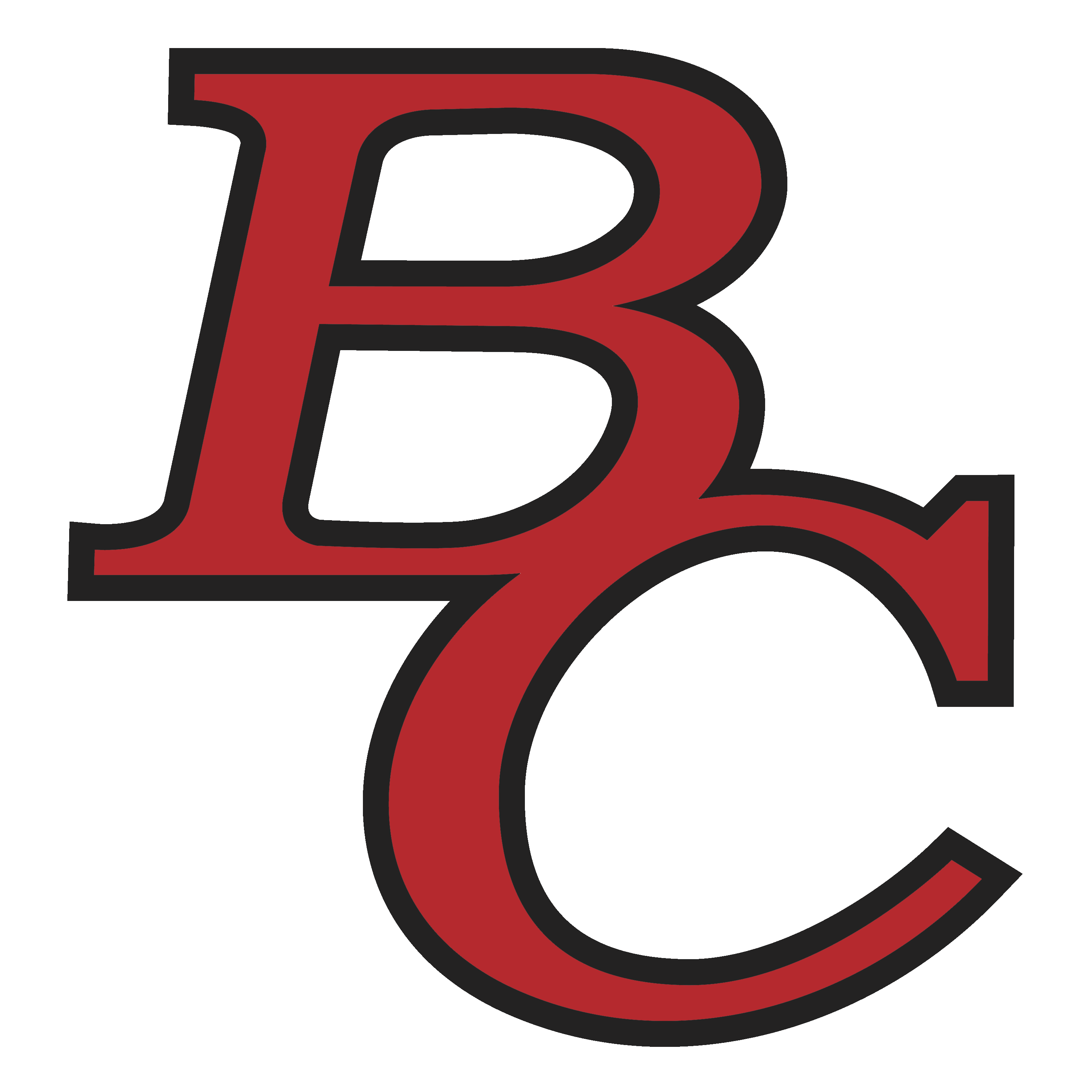 Stacked BC letters in red with black outline.