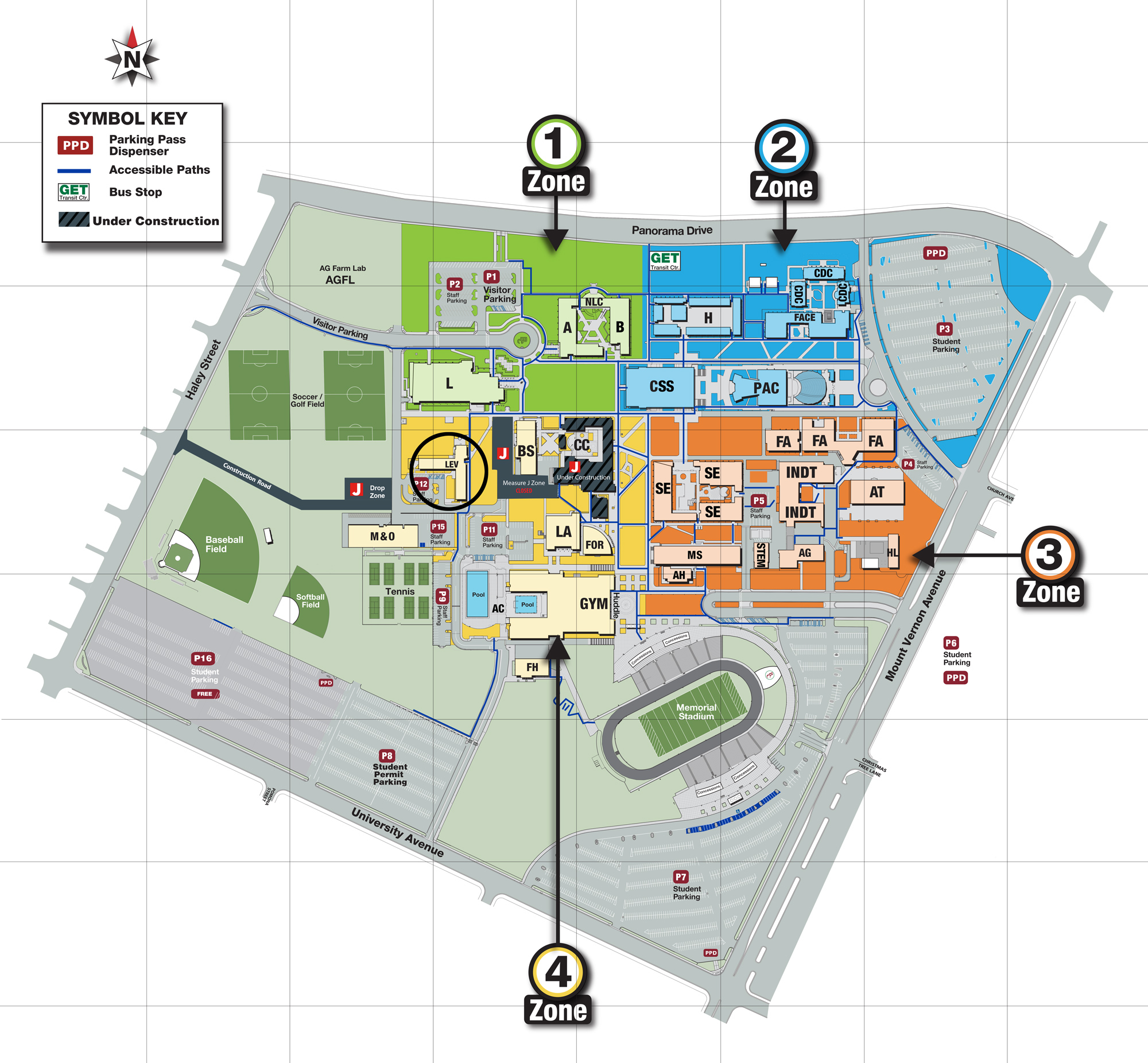 map of Panorama Campus with Levinson Hall highlighted