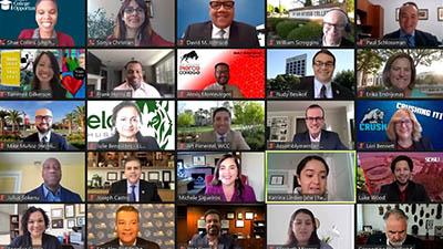 Zoom screenshot of webinar participants and award recipients
