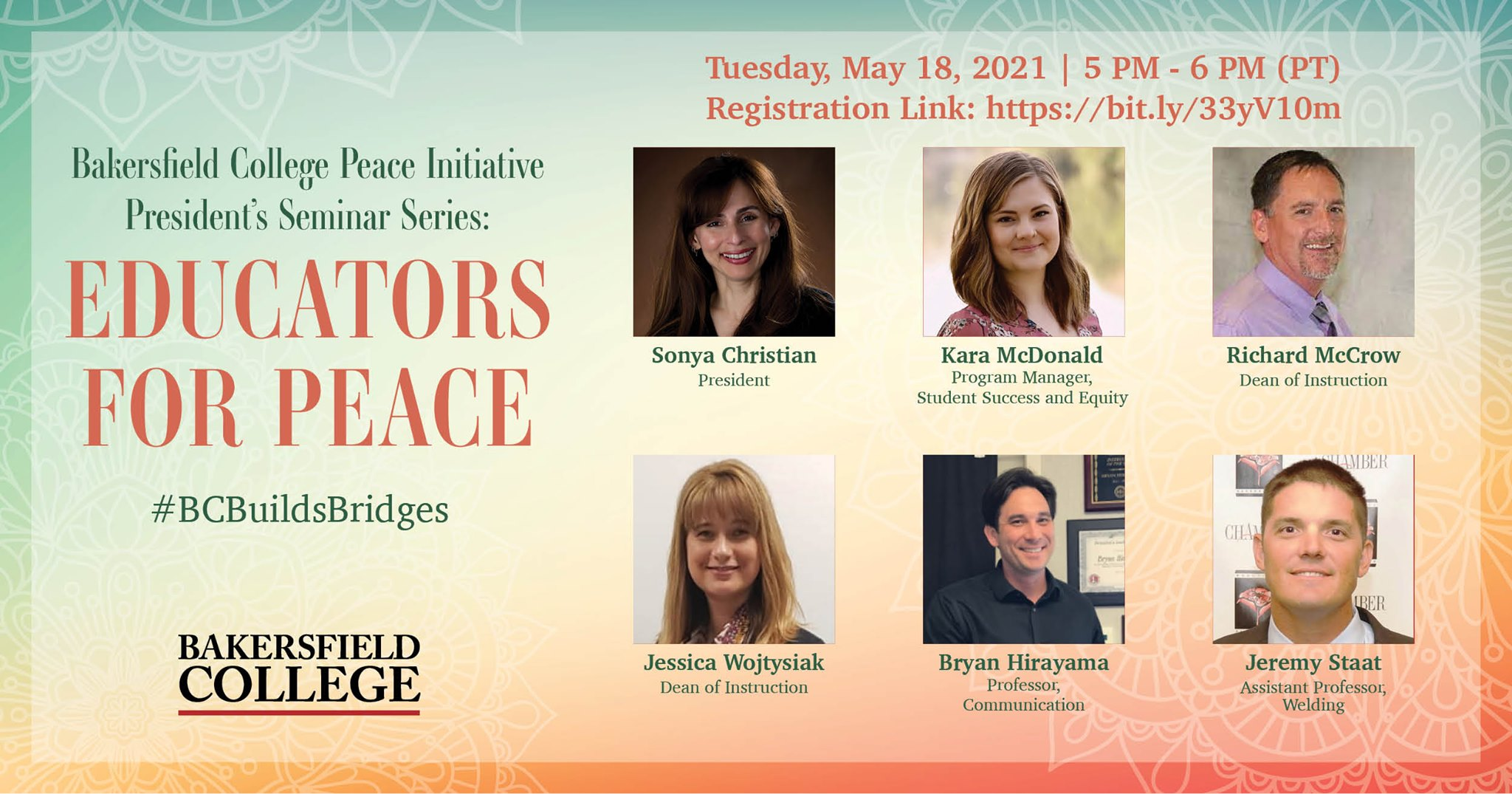 flyer for Educators for Peace panel