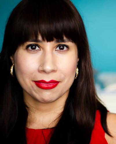 Latina wearing red.