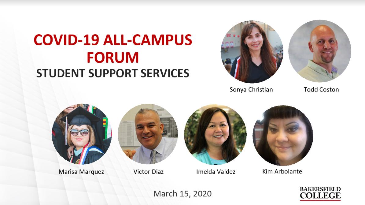 Image showing forum speakers including Sonya Christian, Todd Coston, Marisa Marquez, Victor Diaz, Imelda Valdez and Kim Arbolante
