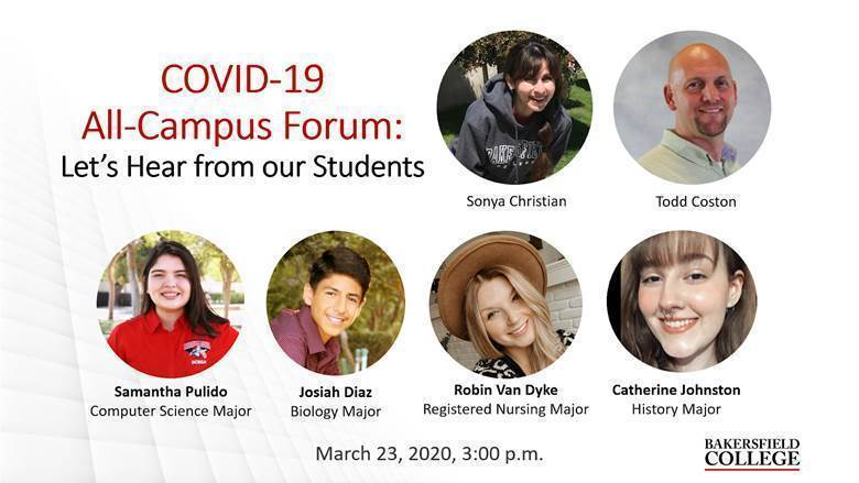 Image showing speakers at March 23 forum: Sonya Christian, Todd Coston, Samantha Pullido, Josiah Diaz, Robin Van Dyke, Katherine Johnston