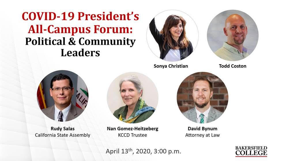 Image showing forum presenters including Rudy Salas, Nan Gomez-Heitzeberg, and David Bynum