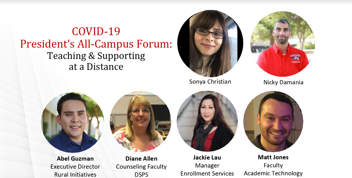 Image showing speakers at April 2 forum: Sonya Christian, Nicky Damania, Abel Guzman, Diane Allen, Jackie Lau, and Matt Jones