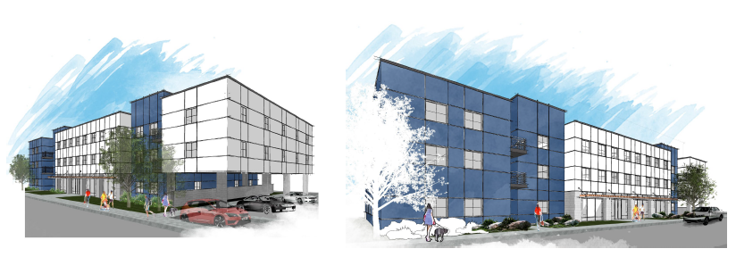 Digital artwork of a proposed student housing unit