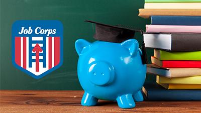 Job Corps Logo Next to Piggy Bank and Books