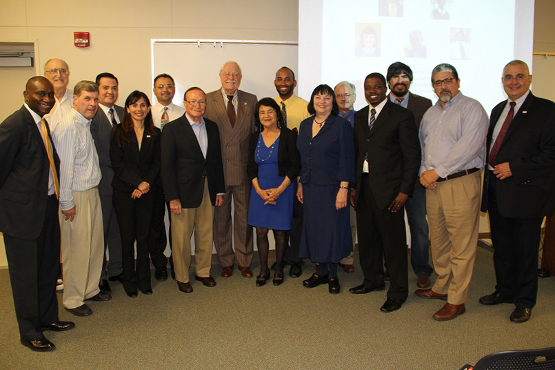 A photo of Bakersfield College administrators, community leaders, and faculty at the founding of the Social Justice Institute.