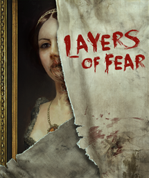 Sheet with Layers of Fear painted in red half covering woman's portrait.