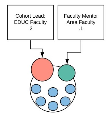Model showing faculty members, cohort leads and students as connected circles