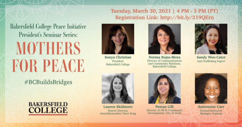 flyer for Mothers for Peace panel