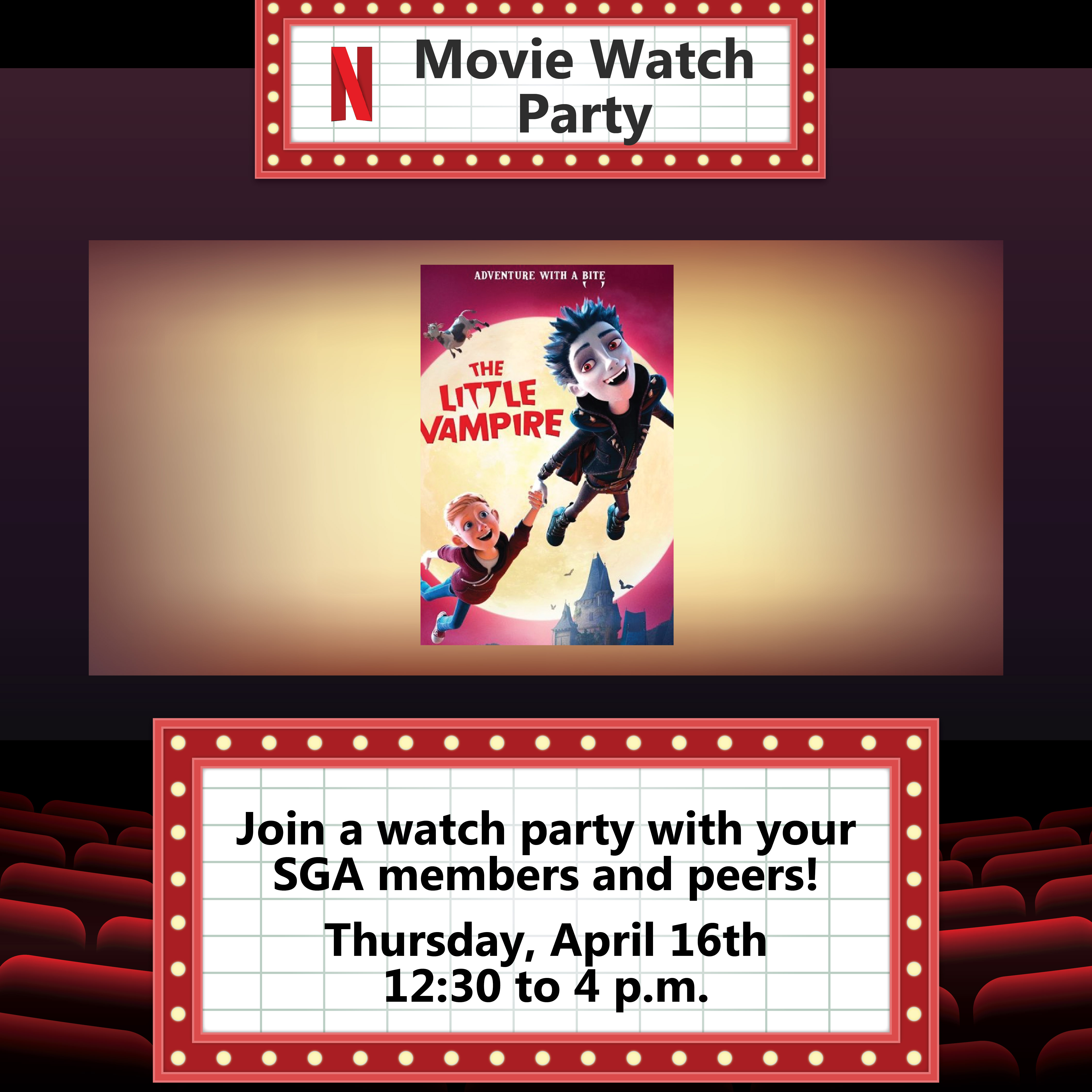 Join a watch party with your SGA members and peers!
