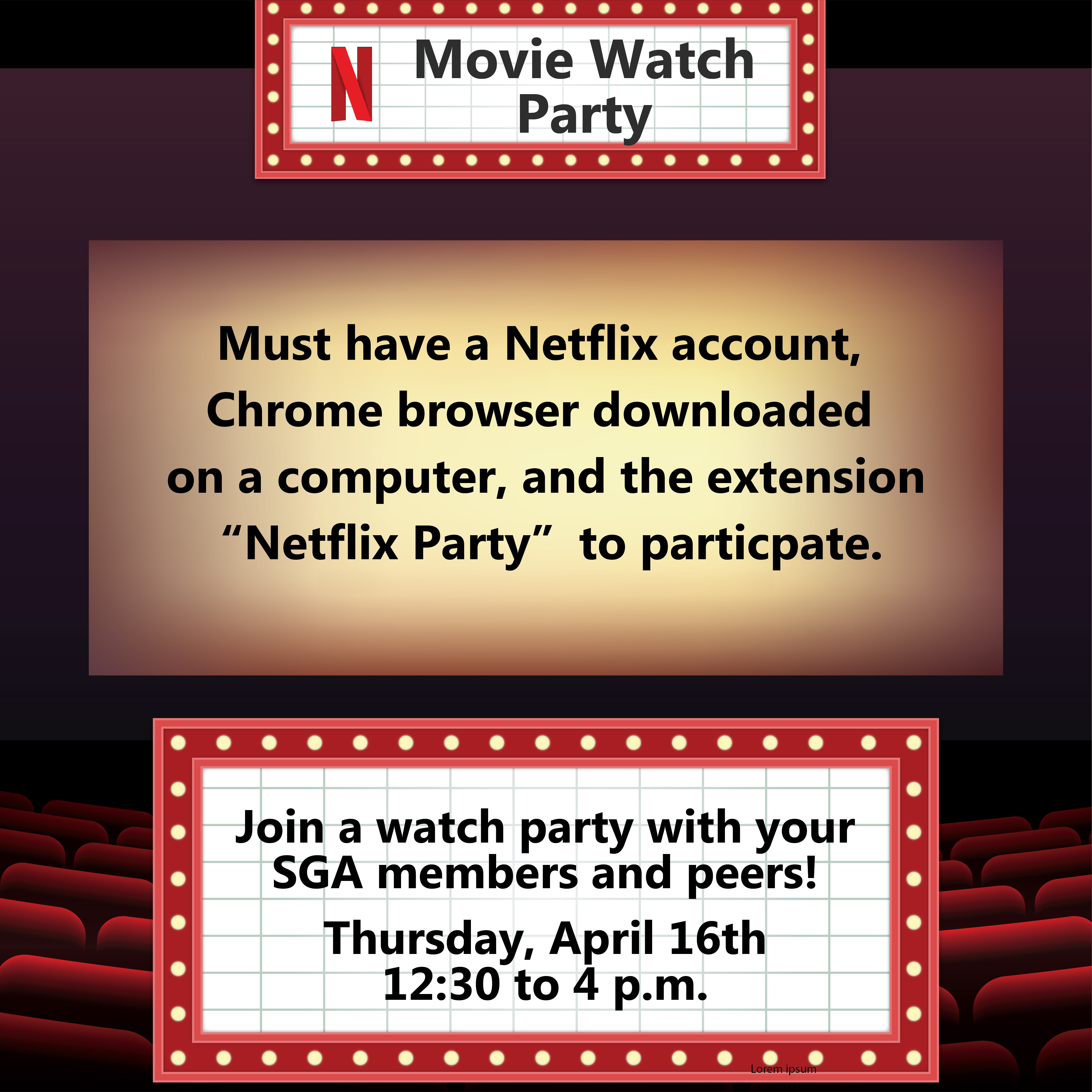 Must have a Netflix account, Chrome browser downloaded on a computer and the extension Netflix Party to partixipate.