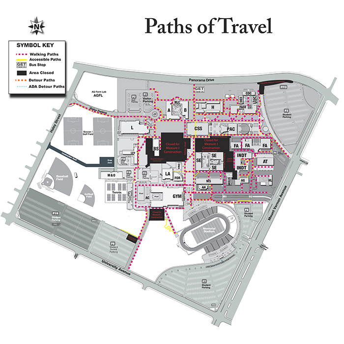Path of Travel Map at Bakersfield College