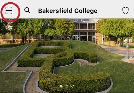Screenshot highlighting the location of the QR function on the KCCD Campus Pass app