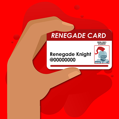 Hand holding Renegade Card for the Renegade Knight.