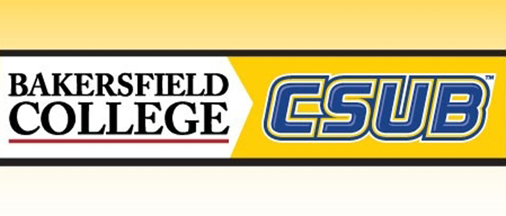 Logos for Bakersfield College and Cal State Bakersfield