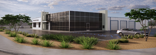 Rendering of a new facility with larg windows and garage doors.