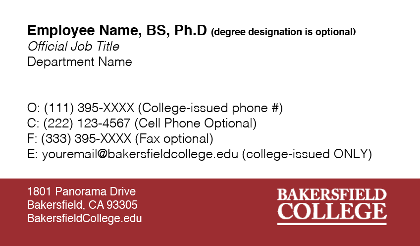 Bakersfield College Business Card Graphic Standard Example