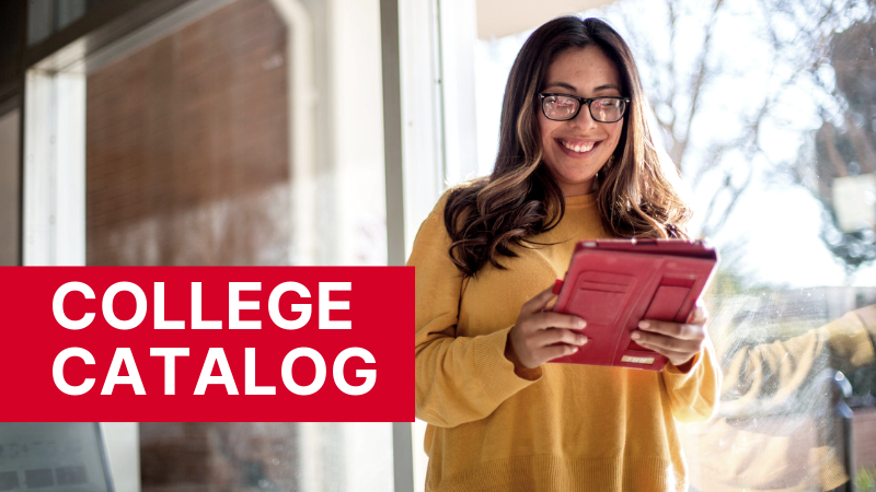 College Catalog with smiling student with iPad.