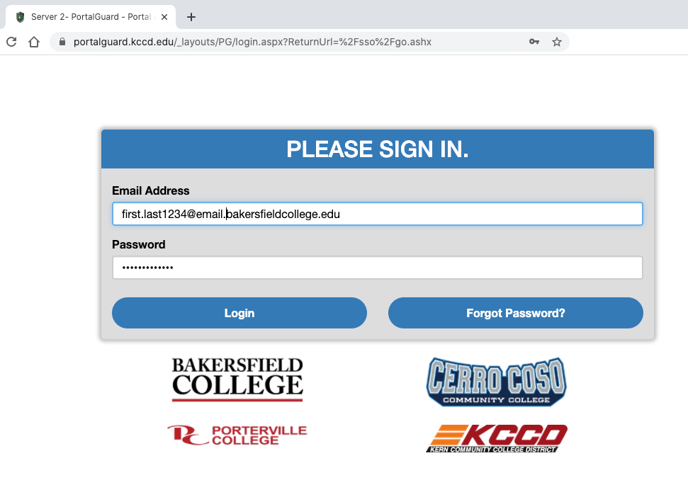 Screenshot of the portal page asking for email and password to login.