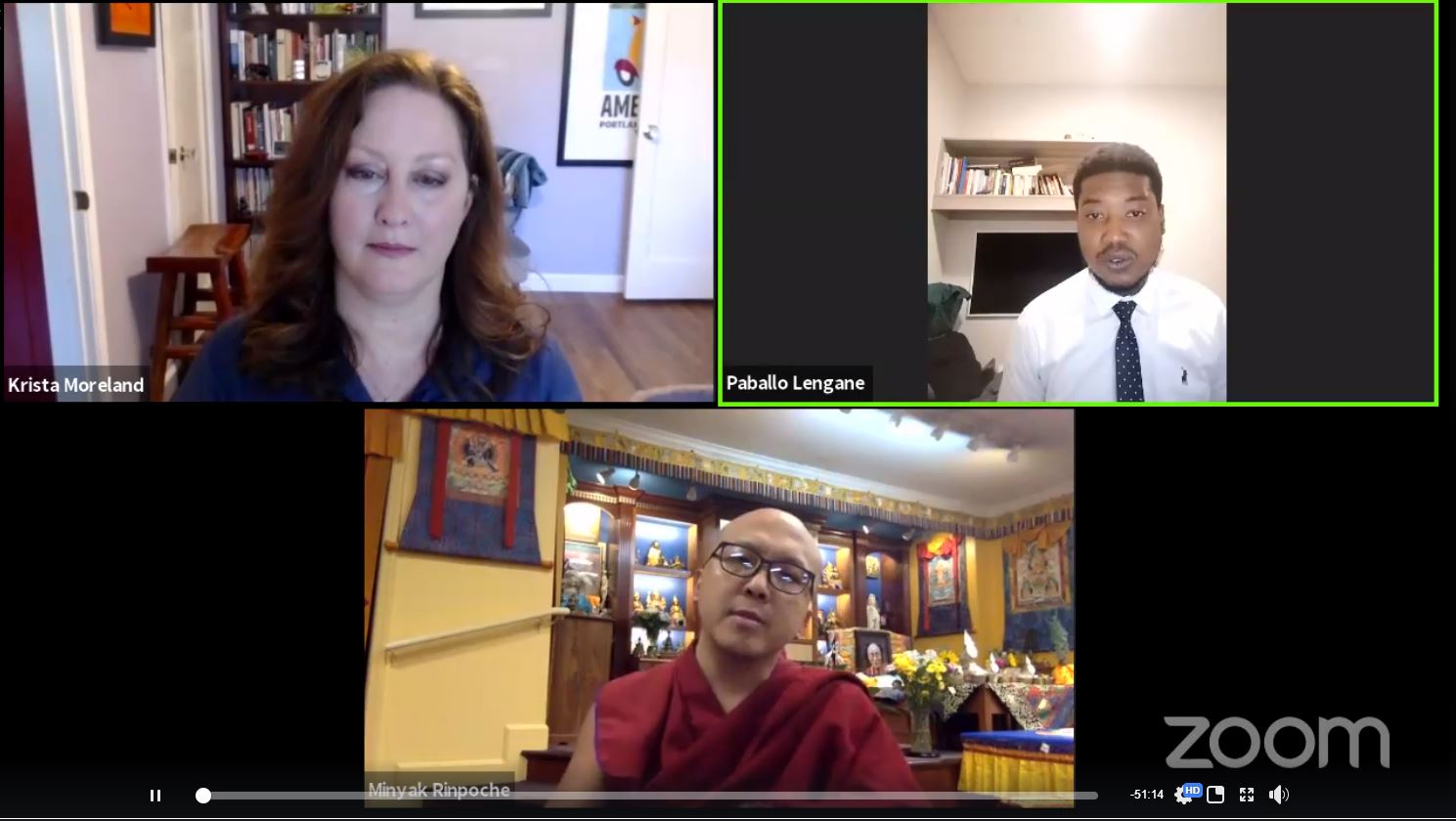 Screenshot of the 2 speakers and the host.