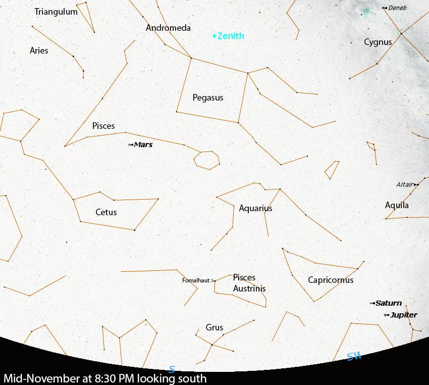 mid-November 2020 at 8:30 PM looking south