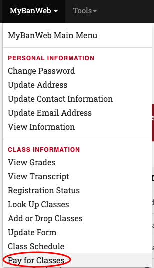 InsideBC MyBanweb menu with Pay for classes circled.