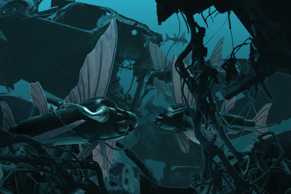 An underwater shipwreck scene with submarines that have fins and look like fish.