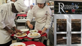 Students cook in the Renegade Room