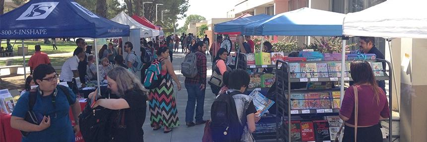 Vendor tents set up on campus