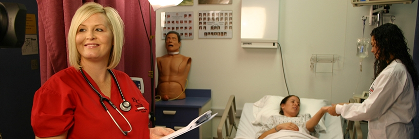 Bakersfield College nursing students work in the patient lab