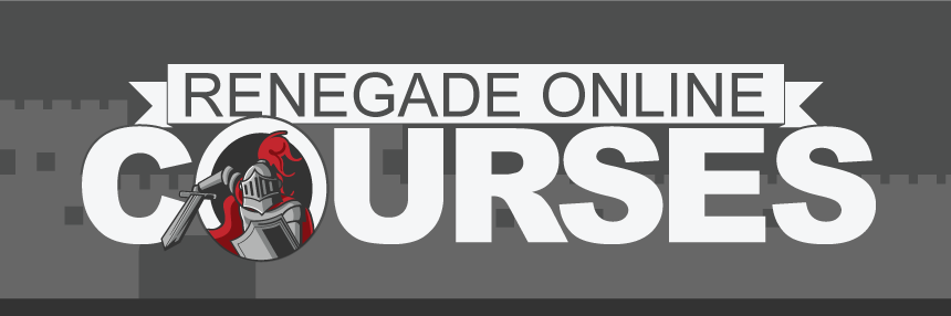 """Renegade Online Courses, features a Renegade Knight popping out of the """"O"""" in Courses."""