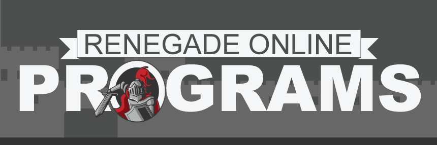 "Renegade Online Programs, featuring a Renegade Knight popping out of the ""O"" in Programs."