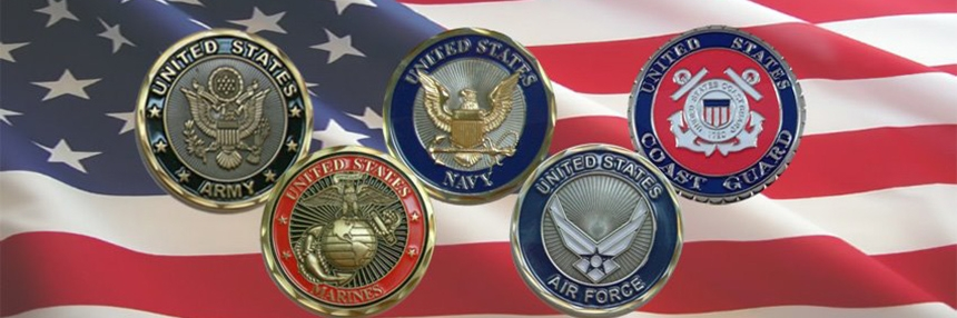 US Military Medallions on a background featuring the US Flag