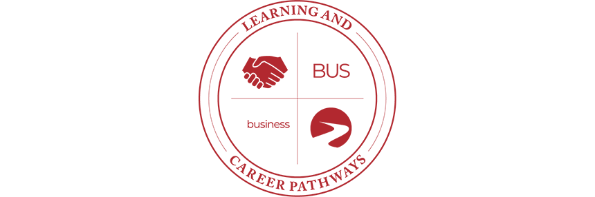 Learning & Career Pathways Business BUS, logo.