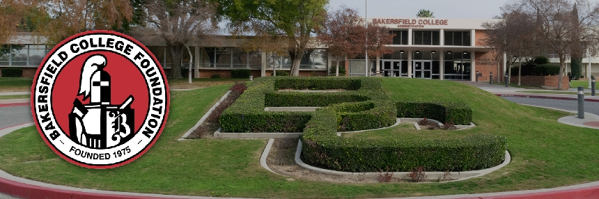 Bakersfield College Foundation logo and campus hedges