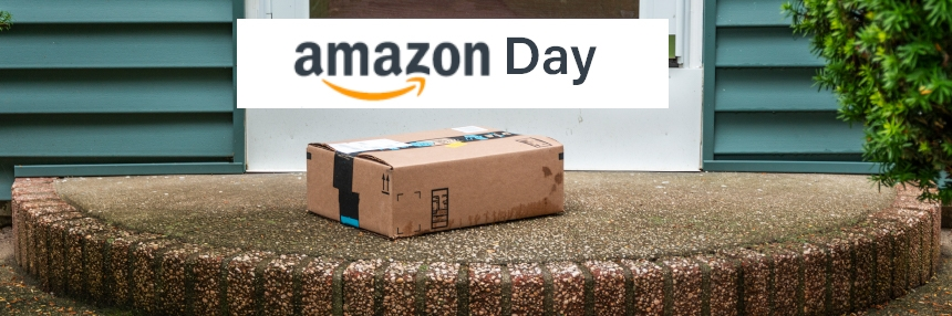 Amazon Day over a package on a porch.